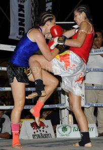 Muay Thai fighter, Melissa Ray in the ring.