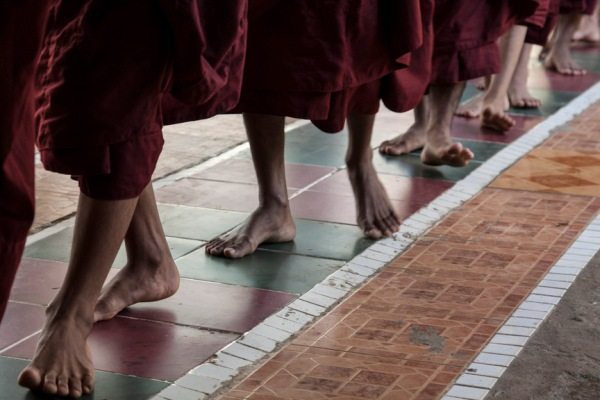 Buddhists Monks proceed in Myanmar
