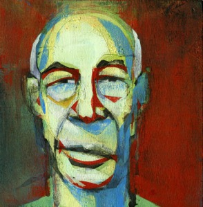 Henry Miller,  ink and acrylic on wood by Jamie Lawson - 2010