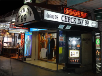 The entrance to Check Inn 99 located on Sukumvit Road in Bangkok, Thailand